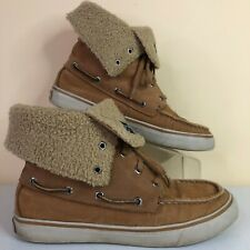 Sperry Top-Sider Boots Shoes Brown Corduroy Lace Up Roll Down Sherpa Lining 6.5M