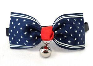 Halsband für kleine Hunde und Katzen mit Glocke Fliege blau mit Sternchen