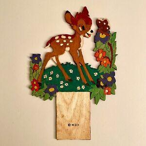 🚬 1960er Laubsägearbeit 24cm Graupner Graubele Bambi Wand-Figur SHABBY CHIC