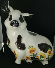 2006 Blue Sky Clayworks Pig with Sunflowers Planter Figurine by Elizabeth Pohle