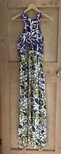 Topshop Floral Maxi Dress Size M 12 Cut out Purple White Blue Green Ethnic