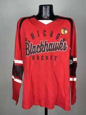 Men's GIII Red Chicago Blackhawks NHL Hockey Long Sleeve Cotton Shirt NWT Large