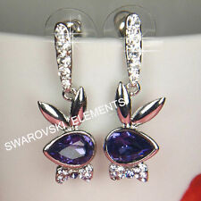 Crystal Drop/Dangle Oval White Gold Filled Costume Earrings