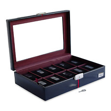 in Black European Leather with Top Glass Cordays - Handcrafted 10 Grid Watch Box