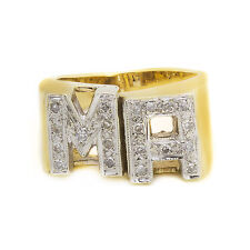 14K Yellow Gold Diamond Initial MA Mens Ring 0.50ct Size 6 11.3 Grams