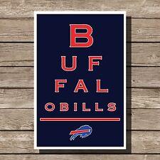 """Buffalo Bills Art Football NFL Eyechart Poster Man Cave Decor 12x16"""""""