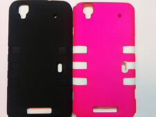 For ZTE Boost Mobile Max N9520 2 Layer Hybrid Armor Rubberized Rib Case