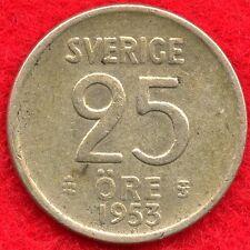 SWEDEN - 25 ORE - 1953 - 40% SILVER - 0.0298 ASW