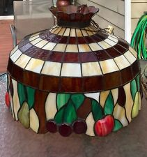 """Tiffany Style Hanging Chandelier Large Stained Glass Lamp 22"""" Diameter"""