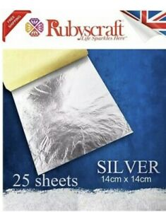 Silver Leaf 100% 25 sheets - Large Craft and Arts 14cmx14cm