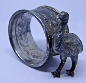 Superb Good Quality Vintage Australian Emu Silver Plated Napkin Ring Ref#B