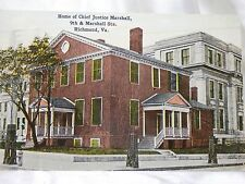 POST CARDS 1921 Home Of Chief Justice Marshall Richmond Va Used VINTAGE Stamp