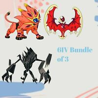 Pokemon Sword Shield SHINY Lunala Solageo Necrozma 6IV Legendary Bundle