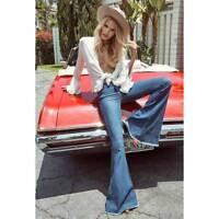 Women Skinny Flare Denim Middle Waist Jeans Retro Bell Bottom Stretch Pants WDS