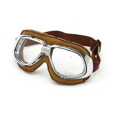 Classic Motorcycle Goggles Brown Clear Lens vintage old school retro leather