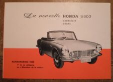 Honda S600 Coupé & Cabriolet ORIG 1965 français Marketing sales brochure depliant