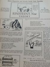 May 1929 Magazine Page #A182- Einstein'S New Theory. Electro-Magnetism- 3Pgs