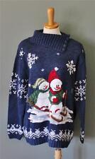The ULTIMATE Ugly Christmas Sweater Jumper Women men XL snowmen blue CS34