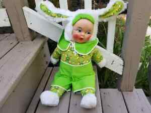 Large Vintage 20-in Tall Rubber Face Plush Bunny Rabbit Doll Rushton or Similar