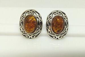 Sterling Silver Oval Shaped Filigree Amber Stud Earrings