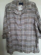 Basic Edition Brown Plaid Button Down Up Top Shirt Blouse Sz 3X NWT