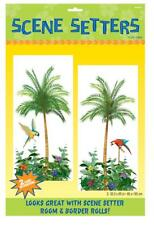 2 5ft Palm Tree Parrot Scene Setter Hawaiian Tropical Party Prop Wall Decoration