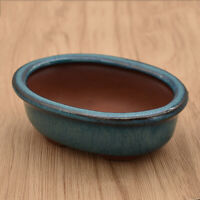 1x Ceramics Flower Pot Succulent Planter Oval Glazed Home Garden Office Decor US