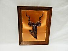 Vintage 3-D Copper & Resin Eland Antelope Wood Framed Hanging