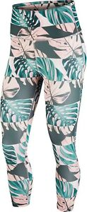 Nike Tights Womens Small Authentic Dri Fit Printed Cropped Running Pink Floral