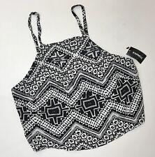 Express NEW Crop Top Halter Black White Print Back Tie Back Open Back Sz S