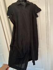 Esencia Vintage Negro Botones De Lino Liso Vestido Talla 20