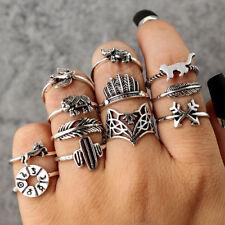 12Pcs/Lot Women Punk Fashion Bohemian Retro Jewelry Finger Rings Accessories Hot
