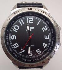 J Ferrar 31956 Mens Silver Tone Black Leather Band Watch BROKEN SOLD AS IS!!!