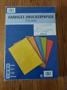 250 Blatt DIN A4 farbiges Druckerpapier in 10 Farben ,75g/qm