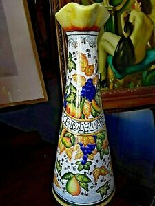 Antique majolica  Porcelain Pottery Jug, Hand Painted Spanish, Talavera Pottery