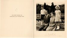 QUEEN ELIZABETH II Autographed Christmas Card with Philip, Charles & Anne, 1955