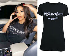 Ladies Short Sleeve Ye Yves Saint Love West Vogue Coco Slogan Print T-Shirt Tops