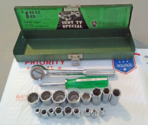 """Vintage SK Tools """"Indy TV Special"""" Combination Wrench Set w/ Metal Case"""