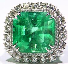 14.54CT 18K Gold Natural Colombian Emerald Diamond Halo Vintage Engagement Ring