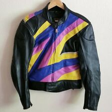 Vintage Hein Gericke Colorful Women Leather Motorcycle Jacket