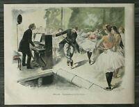 HO4) Farb Holzstich 1885-1900 Paul Destez - Balletprobe Ballett Klavier tutu +++