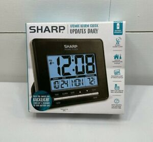 Sharp Atomic Alarm Clock Digital Calendar Battery Operated