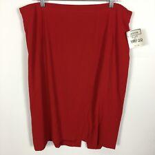 New Gianni Skirt Sz 22 Red Flamenco NWT Lined Back Zip Stretch Panel Waist