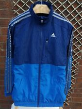 ADIDAS MENS UK SIZE SMALL NAVY BLUE & SILVER FULL ZIP TRACK JACKET VGC