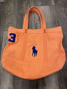 Polo Ralph Lauren Big Blue Pony unisex canvas tote Peach