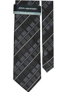 "John Ashford Men's Alders Plaid Neck Tie Black Chrcl Skinny 3 1/4"" x 58"""