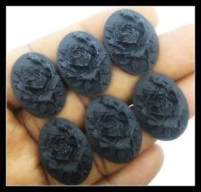 30 pieces  25x18mm Black on  Black Rose Cameos