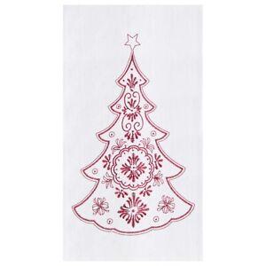 Nordic Tree Christmas Embroidered Flour Sack Kitchen Towel
