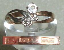 Russischer Ring aus 583er Gold mit Zirkonia, Gr. 57 Ø 18,1 mm (da3921)