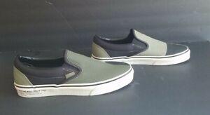 Vans Mens NEW Canvas 507452 Olive Green Black Cream Slip-On Skate Shoes Size 7.5